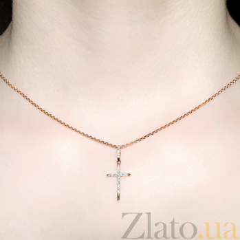 Декоративный крестик из красного золота с бриллиантами KBL--П313/крас/брил