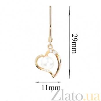 Золотые серьги с жемчугом и бриллиантами Влюбленное сердце 000026675
