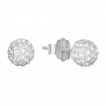 Серебряные серьги с цирконием 000042935