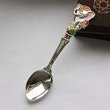 Серебряная чайная ложка Слоник на шаре