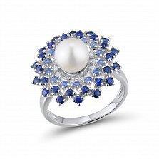 Кольцо из белого золота Глория с сапфиром, голубым топазом, жемчугом и бриллиантами