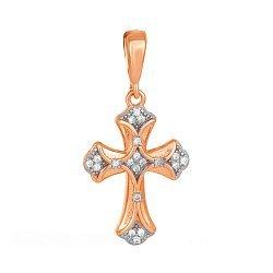 Серебряный крестик Ренессанс с фианитами и позолотой 000034061