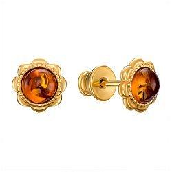 Серебряные серьги-пуссеты с янтарем и позолотой 000137608