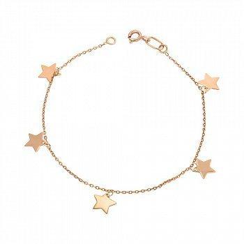 Браслет из красного золота с подвесками-звездами 000149957