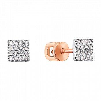 Золотые серьги-пуссеты в комбинированном цвете с бриллиантами 000117292