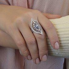 Серебряное кольцо Маркиза с синим и белым цирконием