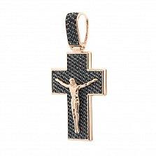 Крестик из красного золота Свет мира с черными фианитами