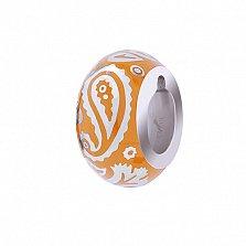 Серебряная бусина с оранжевой эмалью Акварель