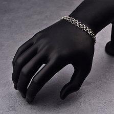 Серебряный чернёный браслет Видео в плетении двойной якорь, 8,5мм