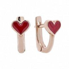 Детские серебряные серьги Сердце в позолоте с красной эмалью