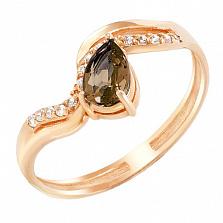 Золотое кольцо Имоджен с раухтопазом и фианитами