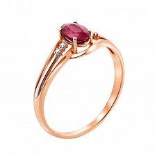Золотое кольцо Клудия в комбинированном цвете с бриллиантами и рубином
