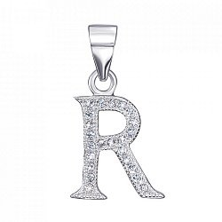 Серебряная подвеска буква R с фианитами 000126986