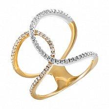 Золотое кольцо Извилистые тропки в комбинированном цвете с бриллиантами, 16,5