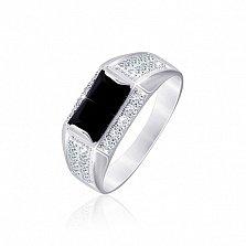 Серебряное кольцо с ониксом и цирконием Сила