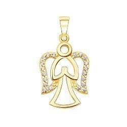 Кулон-ангел из желтого золота с фианитами и родированием 000130883