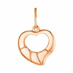 Золотой кулон-сердце Первая любовь с прямыми насечками