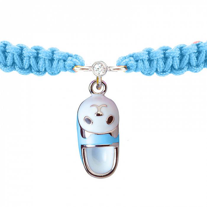 Детский плетеный браслет Тапочек с котенком с эмалью на подвеске и фианитом, 7х15мм 000080597