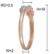 Кольцо из красного золота Алисия с дорожкой из пяти бриллиантов и насечкой