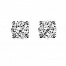 Серьги-пуссеты из белого золота Наина с бриллиантами