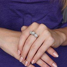 Золотое кольцо Триптих с бриллиантами