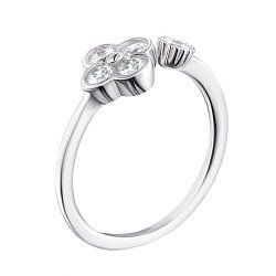 Кольцо безразмерное из серебра с фианитами 000124938