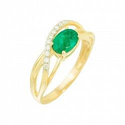 Кольцо из желтого золота Мечтательница с изумрудом и бриллиантами