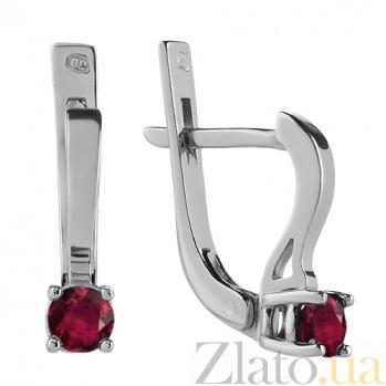 Серебряные серьги с рубинами  Эир 000015360