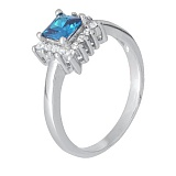 Серебряное кольцо с голубым фианитом Эстер