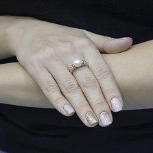 Кольцо из красного золота Лира с жемчугом и фианитами