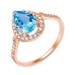 Кольцо из красного золота с голубым топазом и фианитами 000001731