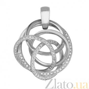 Кулон из белого золота с фианитами Омега VLT--ТТ3390