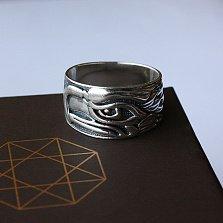 Серебряное кольцо Орёл с чернением