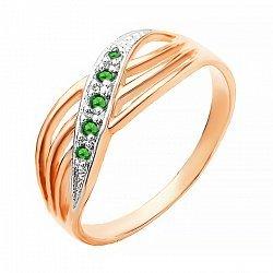 Серебряное кольцо с зеленым цирконием 000027361