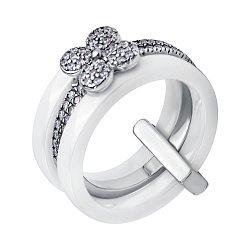 Тройное наборное кольцо Юная Лиза из белой керамики и серебра с цветочком и белыми фианитами