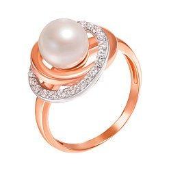 Золотое кольцо Галло в комбинированном цвете с жемчугом и фианитами