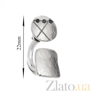 Серебряная серьга с черным цирконием Интрига К2-2л кв-кр чц