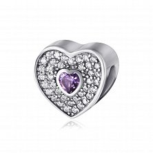 Серебряный подвес-шарм Любящее сердце с фианитами
