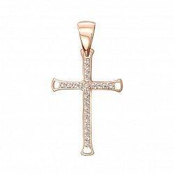 Декоративный крестик из красного золота с кристаллами Swarovski 000134338