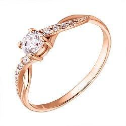 Золотое кольцо с асимметрично расположенными фианитами 000071582