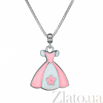 Детское серебряное колье Платье принцессы с эмалью 000080678