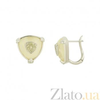 Серебряные серьги с кальцитом и цирконием Пайпер 3С107-0048
