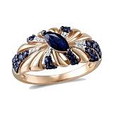 Кольцо из красного золота с сапфирами и бриллиантами Мелисента