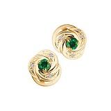 Золотые серьги-пуссеты с изумрудами и бриллиантами Anita