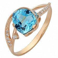 Золотое кольцо Гретхен с голубым топазом и фианитами