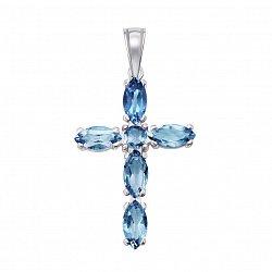 Серебряный декоративный  крестик с кварцем swiss blue 000132684