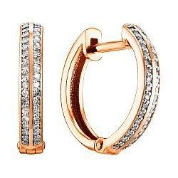 Золотые серьги-кольца  в комбинированном цвете с бриллиантами 000106280
