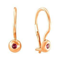 Золотые сережки Лучики с красными фианитами