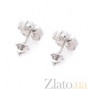 Серебряные серьги-пуссеты Анюта с цирконием 000080145