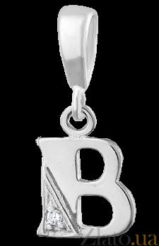 Серебряный подвес с кристаллом циркония Буква В  000025305